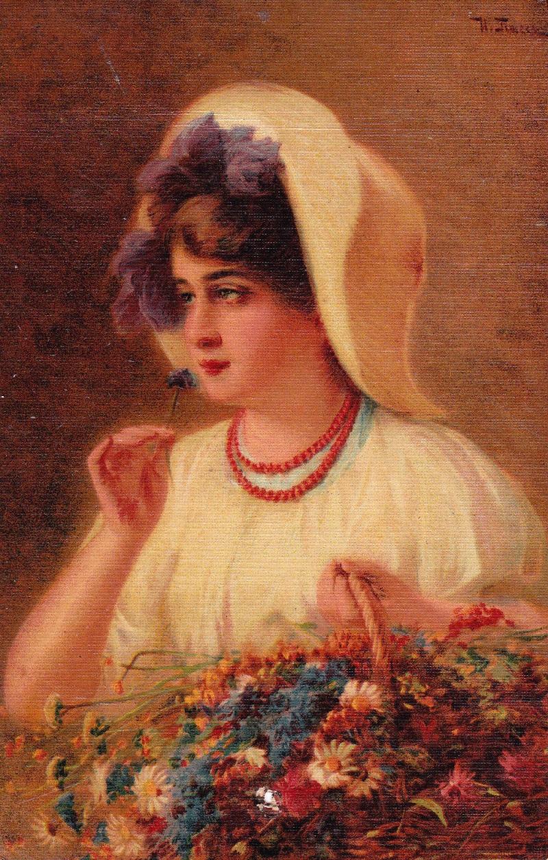Девушка с корзиной цветов вышивка
