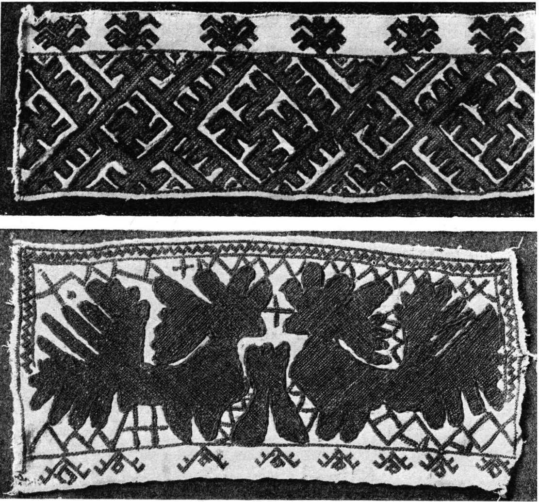19. Образцы вышивания бумажной никтой по холсту.