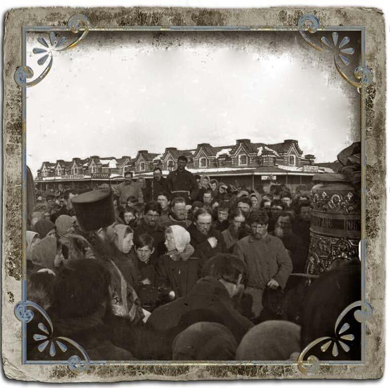 Молебен перед отправкой колокола, торговая площадь,1907 год