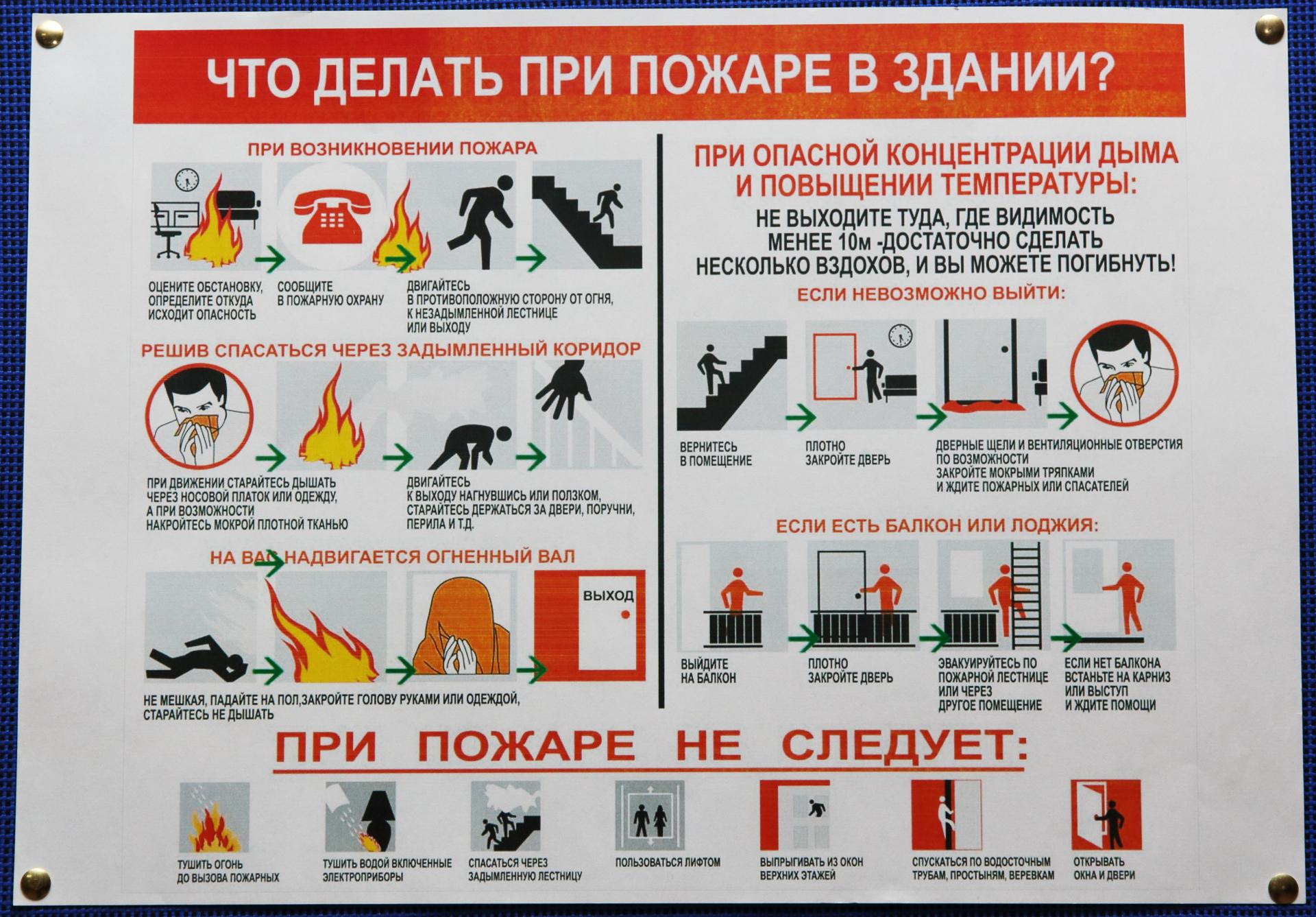 Инструкция о действиях работников при обнаружении пожара в здании