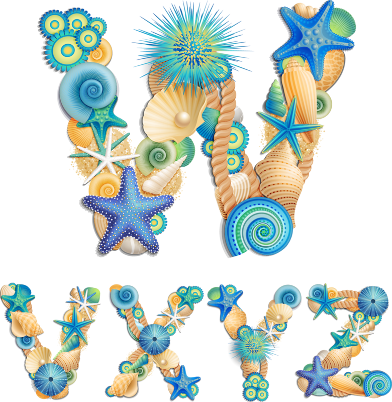 Sea life font on sand background vector (4).png