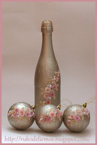 декор бутылок, новогоднее шампанское, новогодние игрушки, ёлочные шарики