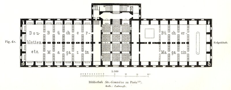 Библиотека святой Женевьевы в Париже, план 1-ого этажа