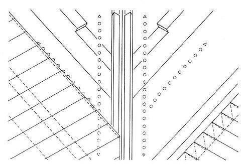 Верхний воздушный слой на ендове; прорези в накосных стропильных ногах