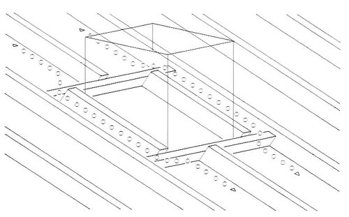 Нижний воздушный канал у проходного элемента; высота поперечного бруса меньше, чем у стропильной ноги