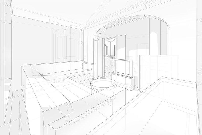 Гостиная с диваном и телевизором. Комнаты отдыха, спальные помещения, проект жилого дома с кухней ванной туалетом кладовой комнатой, четрежи планы, фасады с отметками.
