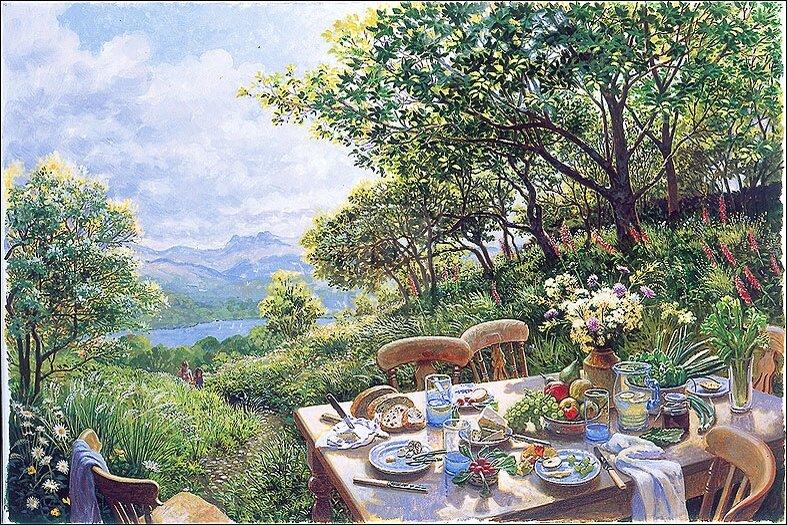 Поздравление, открытки завтрак в саду