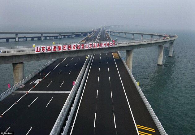 Циндаоский мост - самый длинный мост в мире. Китай