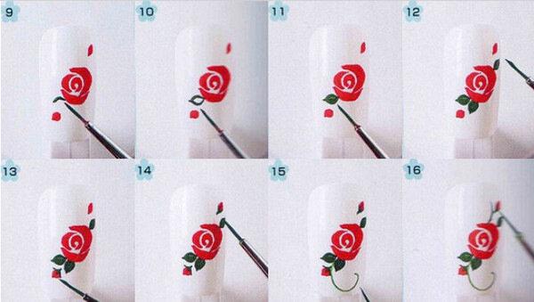 Роза на ногтях для начинающих поэтапно
