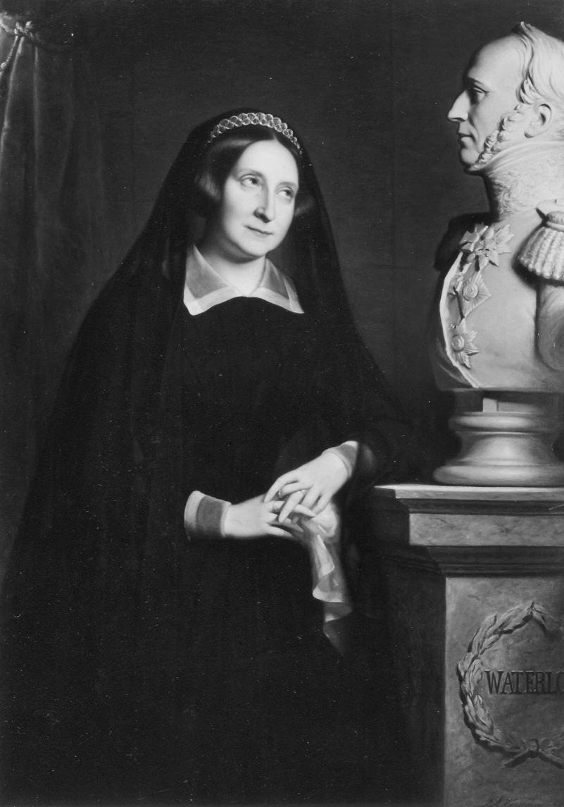 Queen Anna Paulowna as a widow, next to the bust of her husband King William ll