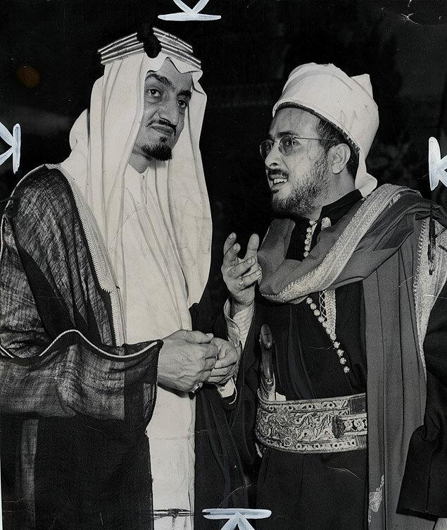 Prince Faisal, representing his father, Saudi Arabia's King Ibn Saud, chats with Seiful Islam Abdulla, Yemen spokesman