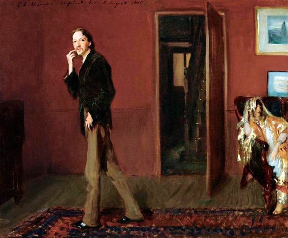 Сарджент,  Роберт Льюис Стивенсон и его жена, у себя дома, в столовой.. 1885г. Robert Louis Stevenson and His Wife; Robert Louis Stevenson paces in his dining room, 1885. His wife Fanny, seated in an Indian dress, in the lower right corner