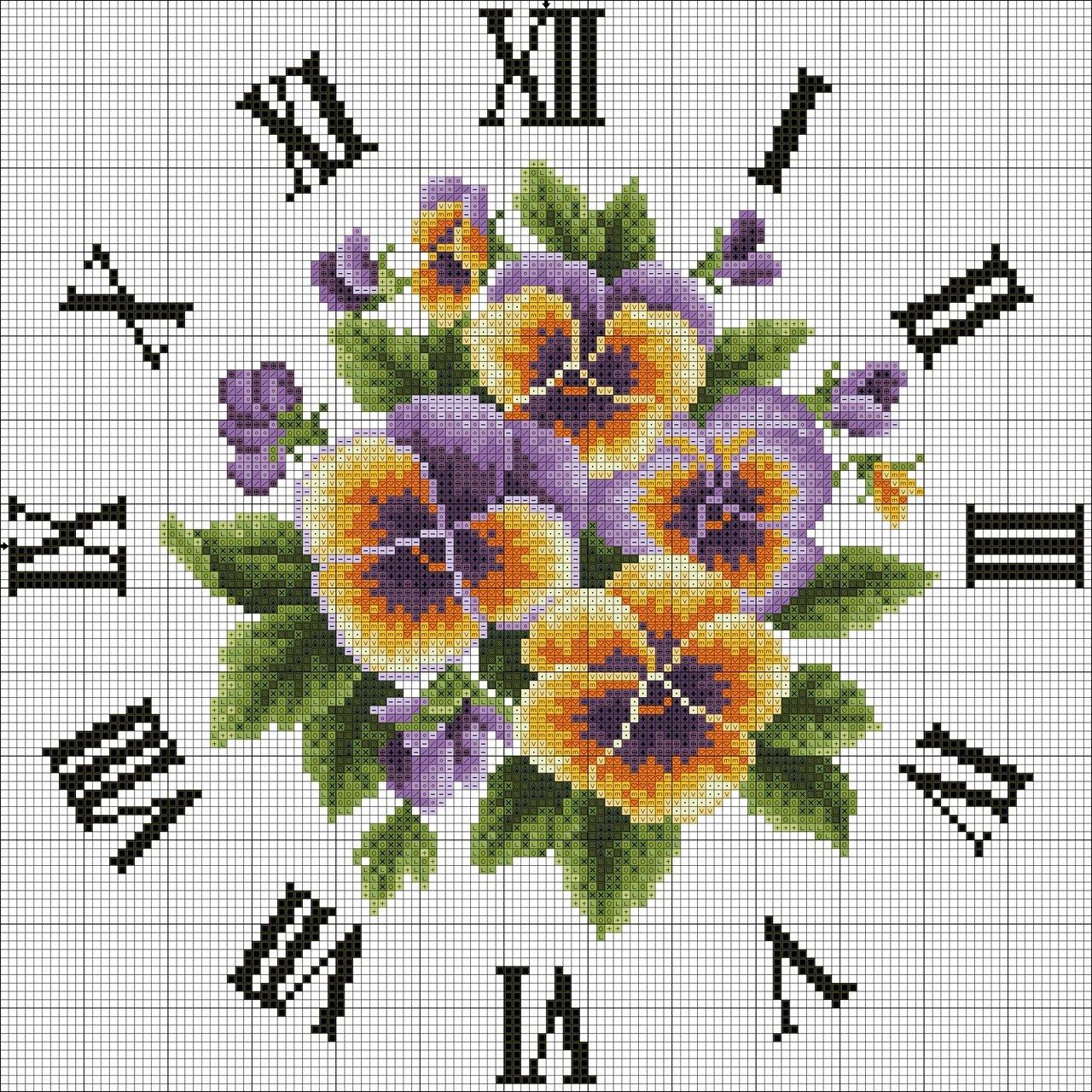 Вышивка часов с бабочками