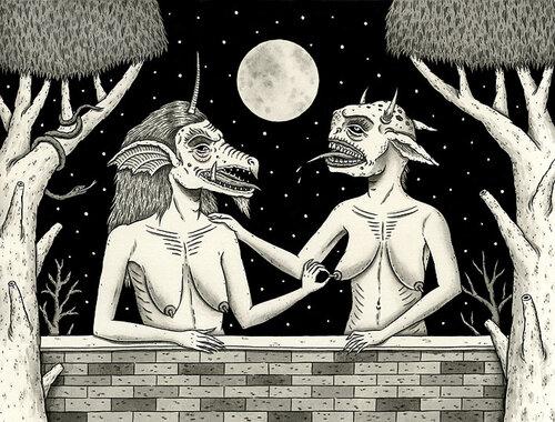 Графика - демоны трогают соски