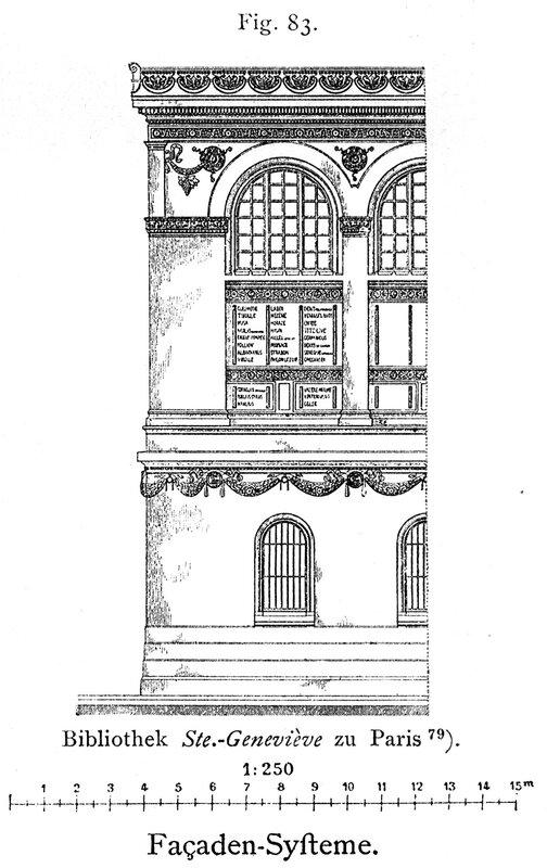 Библиотека святой Женевьевы в Париже, фасад