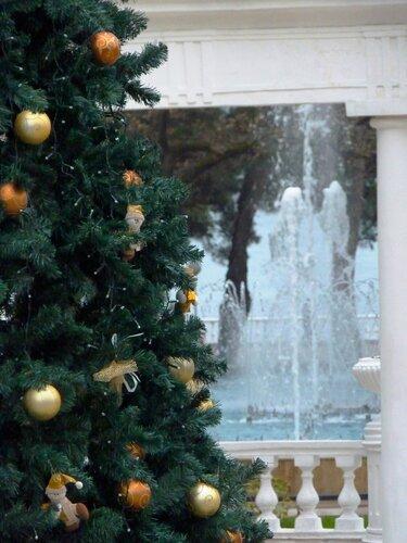 Новогодняя елка с видом на Черное море и фонтаны :-)