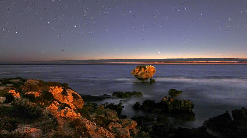 Комета Comet PANSTARRS C 2011 L4 2013 Пол Стори Индийский океан Поинт Перон Западная Австралия Paul Storey Indian Ocean Point Peron West Australia