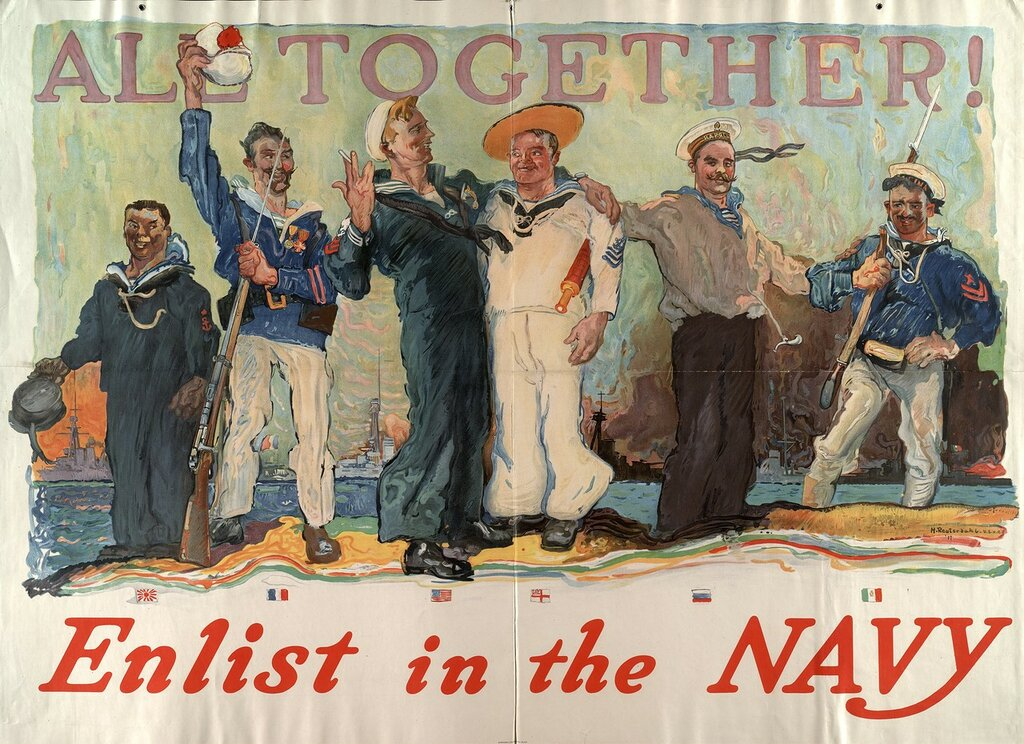 All together - enlist in the Navy (Henry Reuterdahl, 1917)