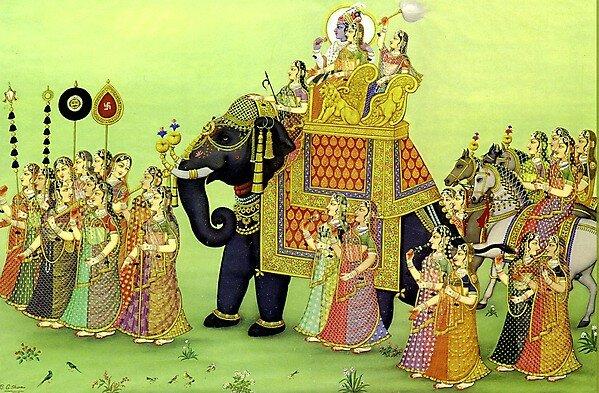 ИСКУССТВО ИНДИИ, Картины худ. Шарма РАДХА-КРИШНА (radha-krishna-gopi na slone)