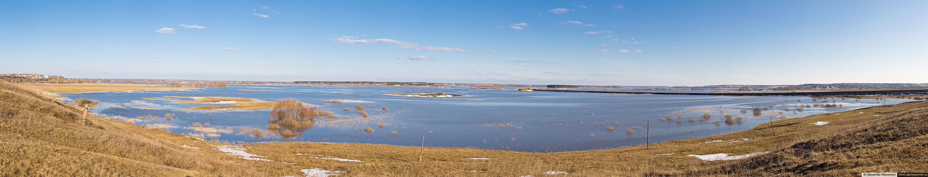 Панорама половодья на Мокше близ Краснослободска