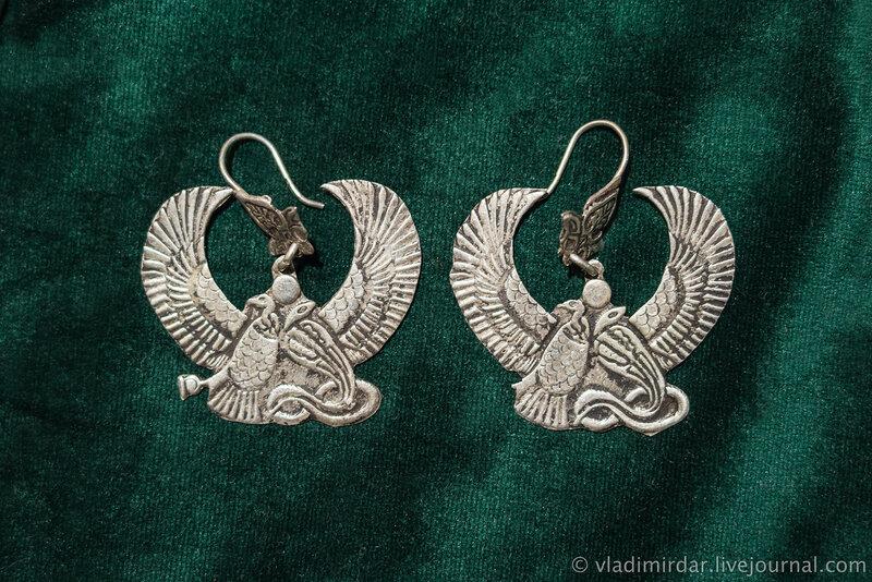 Серьги. Египетские богини Нехбет и Уто. Серебро. XX в.