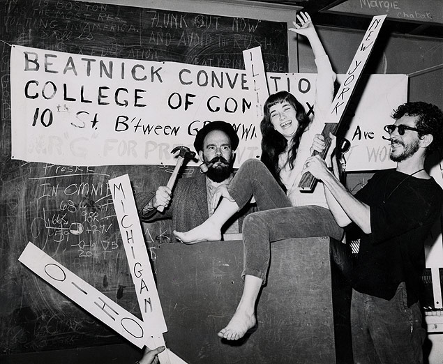 Candidates and delegates for the Beatnik Party construct their party platform at a coffee house.jpg
