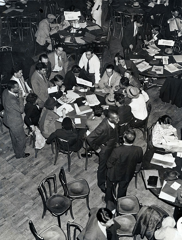 General view of the convention floor at the National Communist Convention held at the Manhattan Opera House 1936