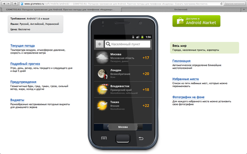 Gismeteo Weather Forecast Lite на сайте gismeteo.ru: весь мир