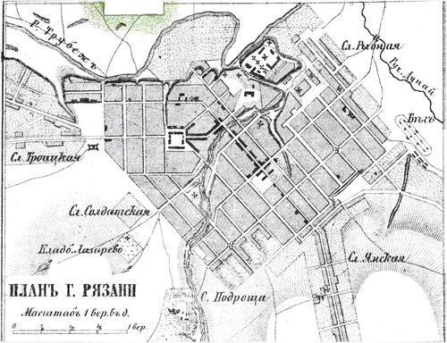 Генплан города Рязани на 1876 год