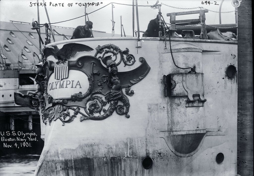 USS Olympia (Cruiser #6), stern plate, while at Boston Navy Yard, November 4, 1901.