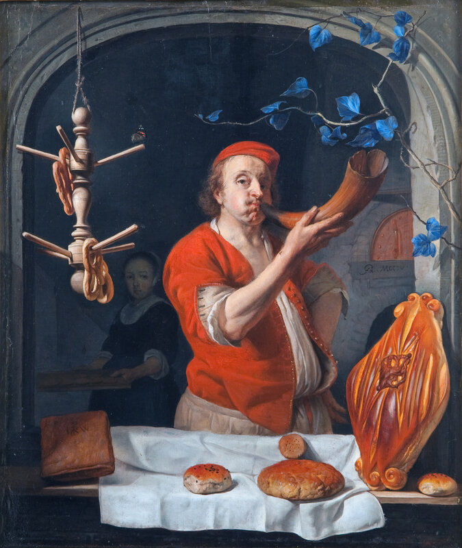 Gabriel Metsu: Een bakker die zijn hoorn blaast , c.1660