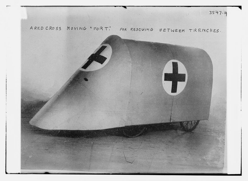 A red cross moving Fort. For rescuing between trenches.