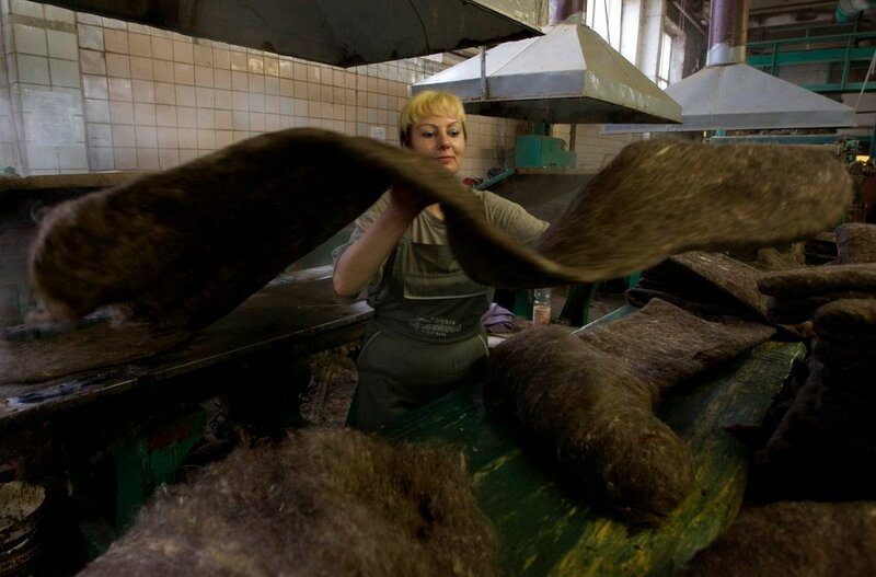 Worker processes semi-finished valenki, traditional footwear made of raw wool, at a factory in village of Smilovichi