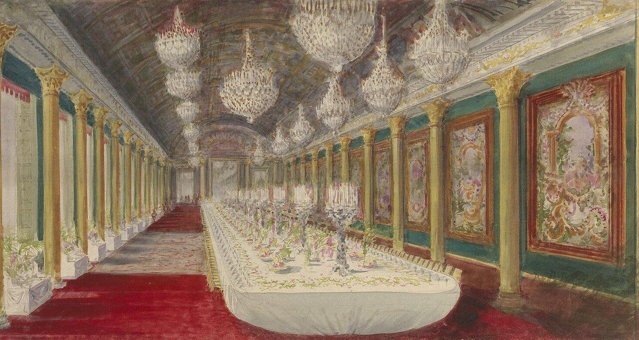 Стол, накрытый для церемониального обеда в замке Компьен