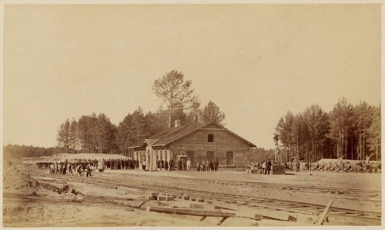 Строительство железнодорожного вокзала в Минске, 1868