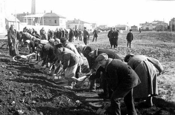 Учащиеся средней школы №8 г.Новокузнецка за ремонтом дороги