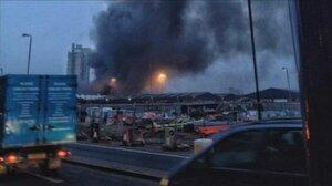 В Лондоне вертолёт столкнулся с башенным краном