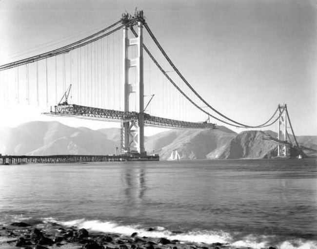 Строительство знаменитого моста «Золотые Ворота», 1937 год.