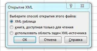 Рис. 8.1. Открытие файла XML в Excel