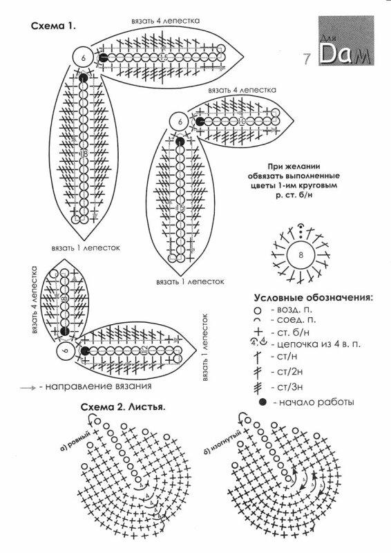 Схема вязания крючком лепестков 42