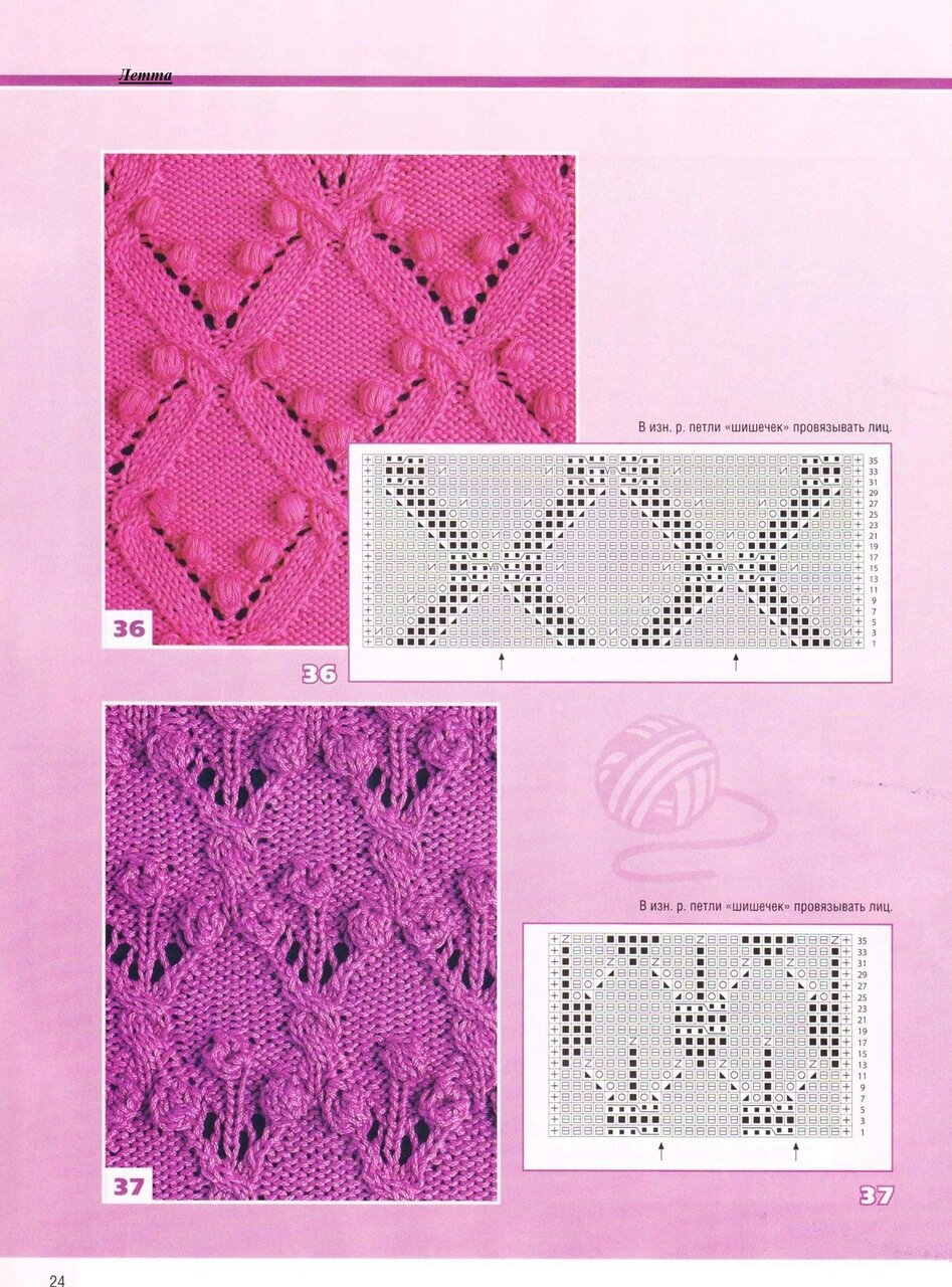 Схемы вязания спицами c ажурными узорами на 98