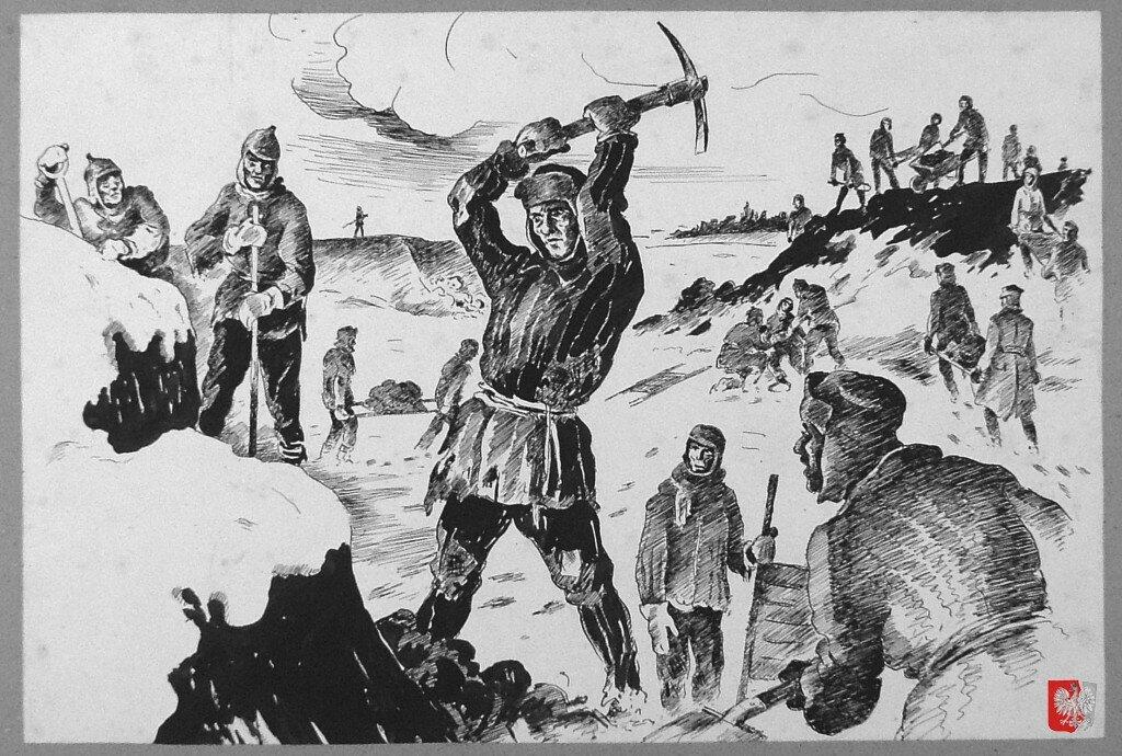 Земляные работы lagiernikow (заключенных ГУЛАГа) на севере России