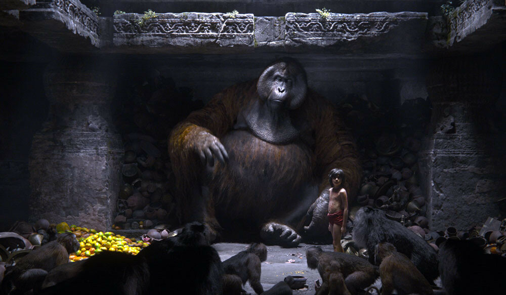 THE JUNGLE BOOK - (L-R) KING LOUIE and MOWGLI. ?2016 Disney Enterprises, Inc. All Rights Reserved.