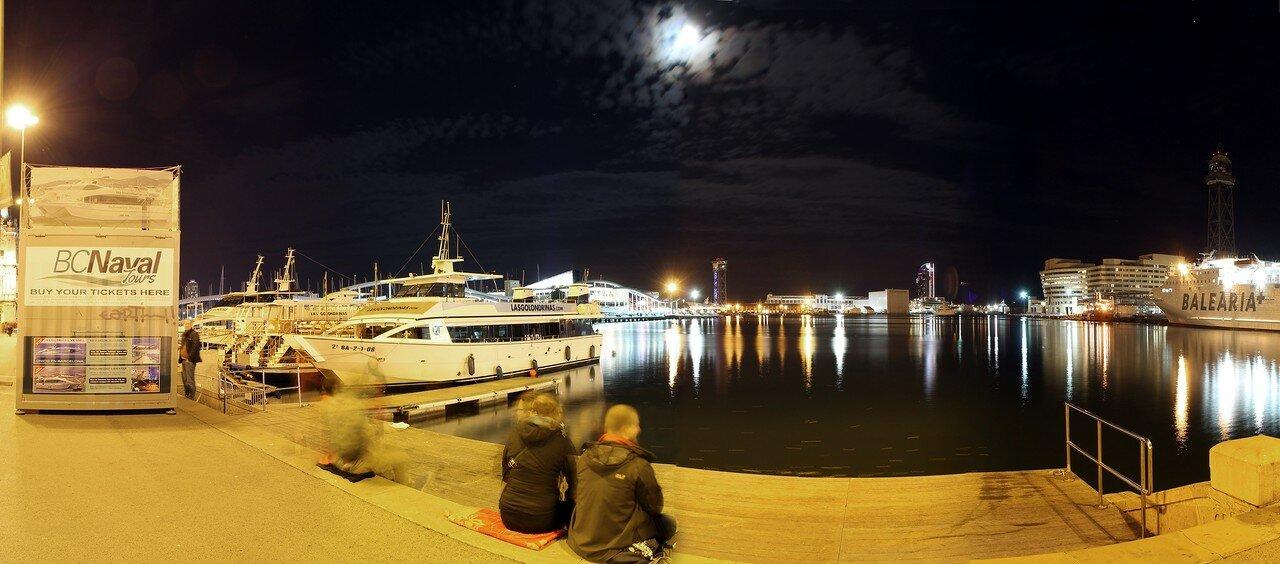 Ночная Барселона. Круизный порт