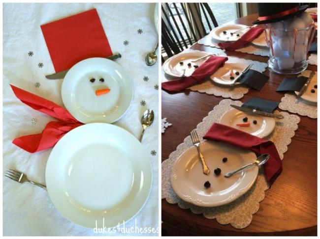 © Duke and duchess  Спомощью тарелок, приборов, кусочка морковки, оливок ицветных салфеток м