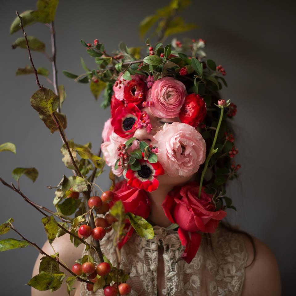 Цветочные лица Kristen Hatgi (10 фото)