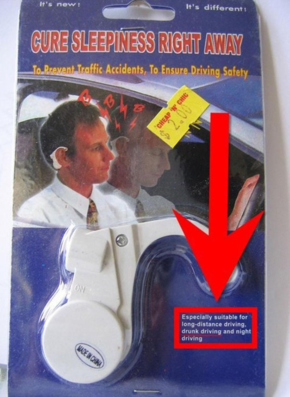 Специальный электрошокер предотвращает засыпание за рулем. На упаковке написано, что этот товар особ