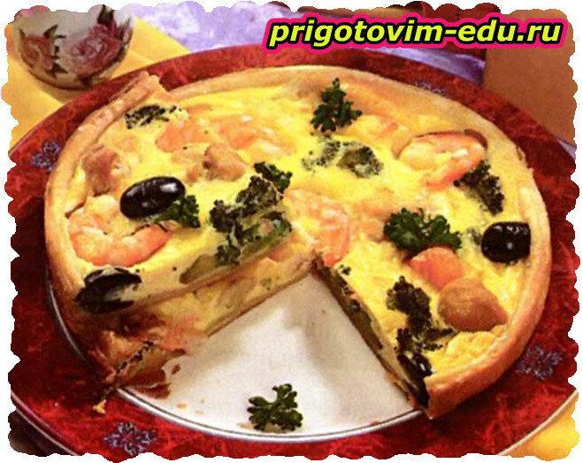 Пирог с креветками и капустой