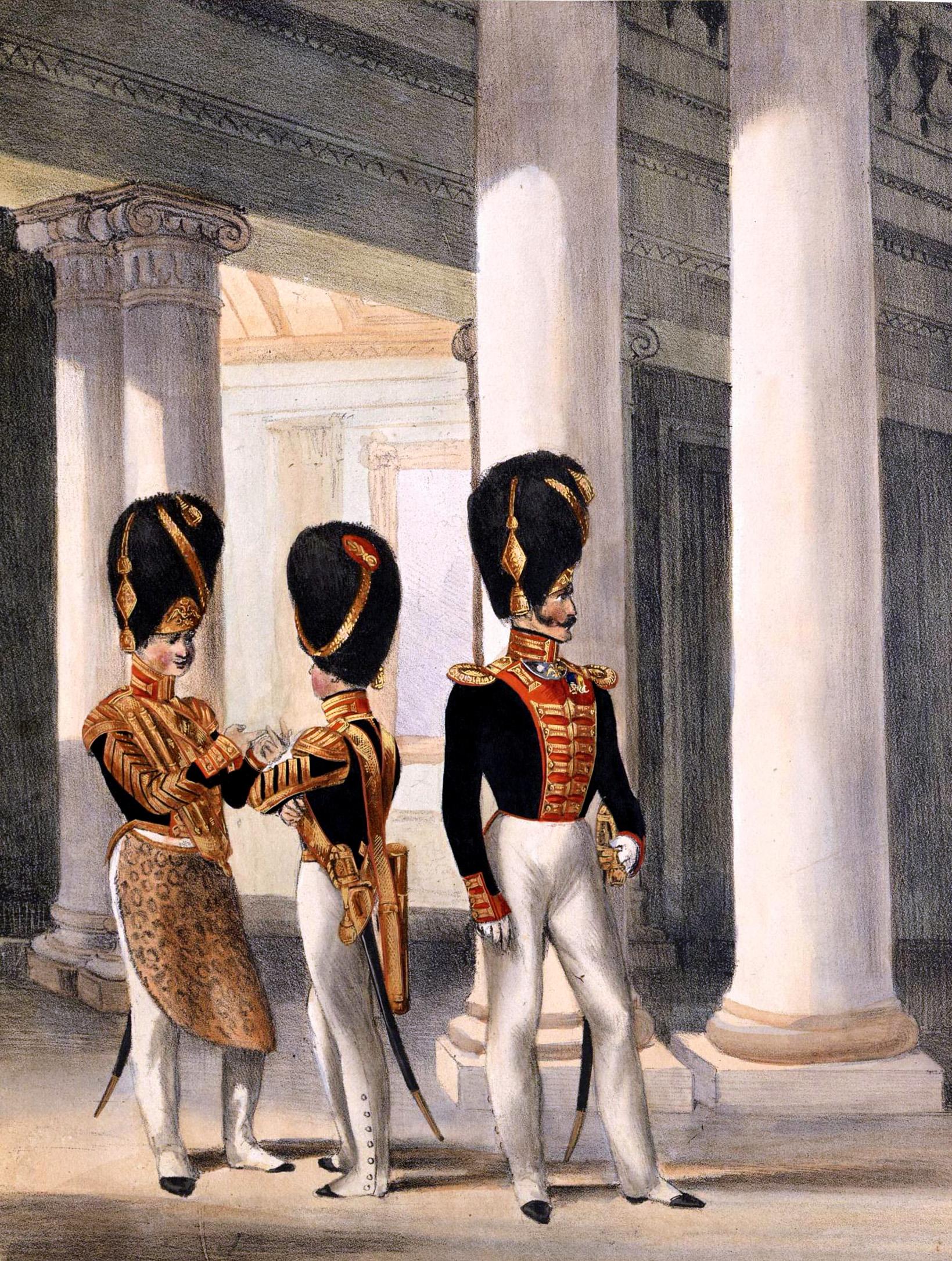 011. Kaiserthum Russland Palast-Garde-Grenadiere: Pfeifer, Tambour und Offizier in Parade / Российская империя