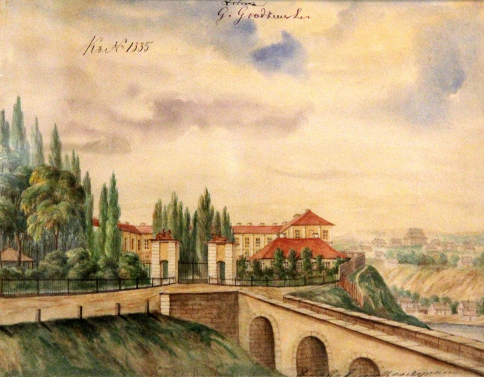 Орда Наполеон. 1807-1883 Гродно. Новый замок. 1861-1869 Рисунок карандашом, подправленный акварелью Национальный музей в Кракове